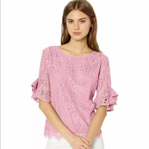 Nanette Lepore - Rose Blouse Floral lace Overlay